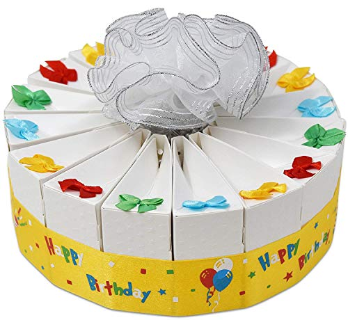 y Favor Bags Cake Kit 2 Pack Includes 20 Favor Boxes White Birthday Party Crafts Supplies Decorations Table Centerpieces for Boys and Girls ()
