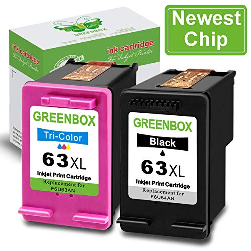Newest Chip GREENBOX Re-Manufactured Ink Cartridge Replacement for HP 63XL 63 XL Used in HP Envy 4520 4516 HP Officejet 5255 5258 4650 3830 3833 HP DeskJet 1112 3632 2130 Printer(1 Black, 1 Tri-Color)