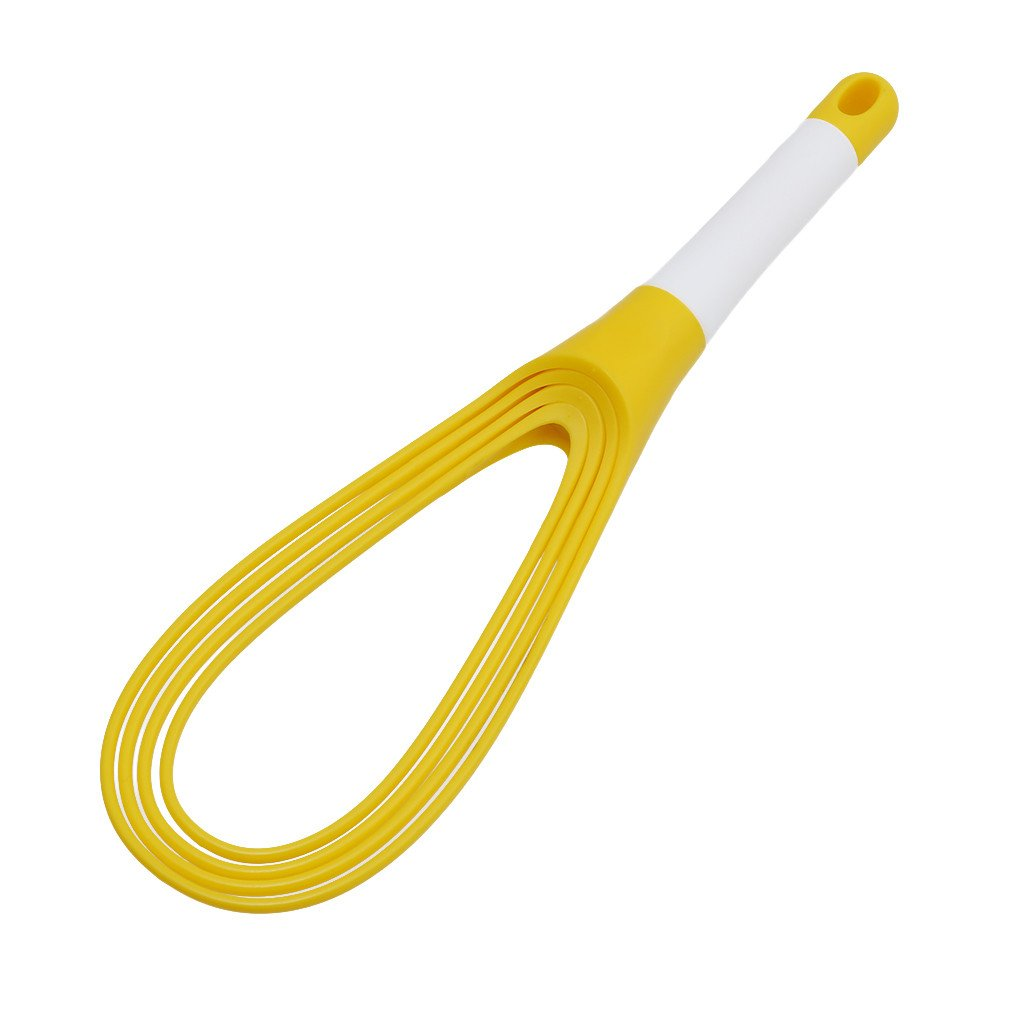 Egg Whisk Drop-shaped Flat Silicone Coated Cooking Egg Beater Mixer Whisk Tools (Yellow)
