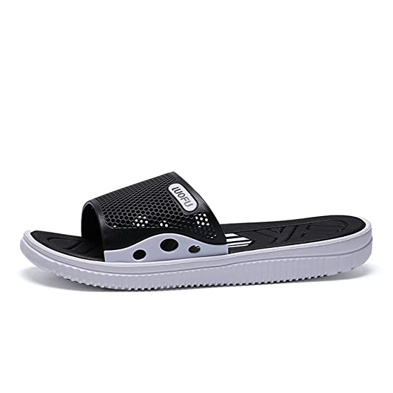 3ace30b7aa3 Amazon.com  MUMUWU Men s Pool Slides Shoes Flat Heel Slipper Up To Size  10MUS Sandals  Clothing
