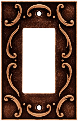 BRAINERD 64277 French Lace Single Decorator Wall Plate / Switch Plate / Cover, Sponged Copper - Brainerd French Lace