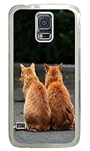 poetic Samsung Galaxy S5 cases Two Cute Cats In Love Standing On The Road PC Transparent Custom Samsung Galaxy S5 Case Cover