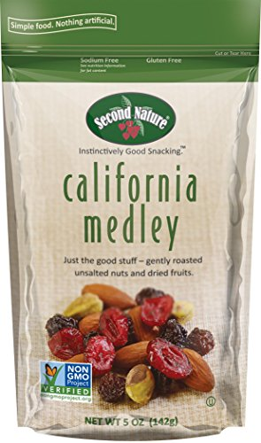 Second Nature California Medley Trail Mix 5 oz Package - Assortment of Almonds, Raisins, Dried Cranberries and Pistachios - Sodium-Free & Non GMO Project Verified (12 Pack) (Roasted Trail Mix)