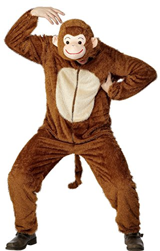 [Smiffy's Adult Unisex Monkey Costume, Jumpsuit with Hood, Party Animals, Serious Fun, Size M, 31677] (Animal Suits For Adults)