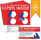 PETS INSIDE STICKERS x 4 with BONUS 'Pet Home Alone' WALLET CARDS x 2. Alert emergency first responders to pets inside home.