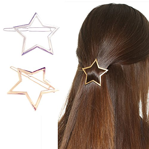 Happy Hours - Stylish Hollow Star Decor Hair Pins / Kids Teen Girls Women Wedding Bridesmaids Bridal Ornament / Bling Hair Clip Clamps Barrettes (Happy New Year Star Hair Clip)