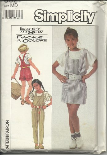 Simplicity 8521 Girl's Overalls, Jumper, and Pullover Top Size MD (Jumper Shortall)