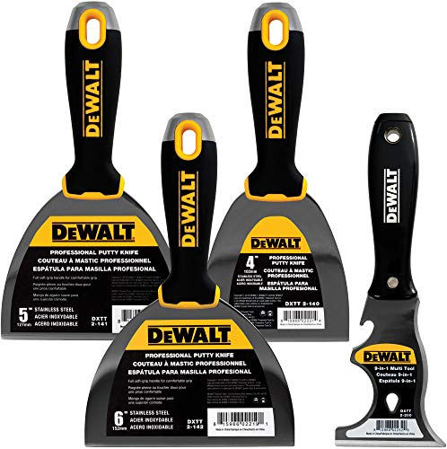 DEWALT Stainless Steel Putty Knife 3-Pack | 4/5/6-Inch + 9-in-1 Painter's Multitool Included for FREE | Soft Grip Handles | DXTT-3-140