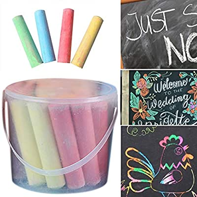 Color Chalk for Kids - 15/20 Pack Dust Free Chalk Pavement Chalk for Kids Won't Roll Away Jumbo Sidewalk Chalk Bucket Set Perfect Easter Basket Stuffers Street Art Painting (A-20 PC): Electronics