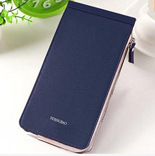 Bleu Foncé Les Pochette Téléphone Femmes Microfibre en en De Porte Card Pink Cartes Cuir Multi TENGGO Slots qBS4ZwxZ