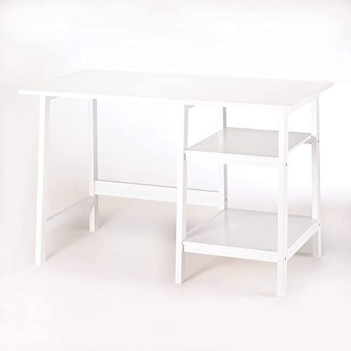 Koehler 14708 47.25 Inch White Workstation Desk with Shelves