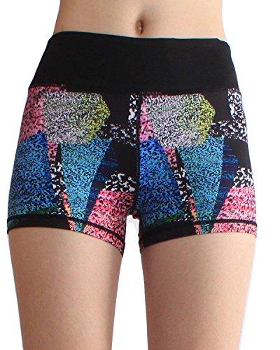 SOUTEAM Women High Wasit Shorts Stretchy Shaping Yoga Pants, Black & Blue, Medium