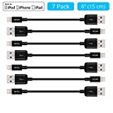 [7-Pack Bundle] Skiva USBLink Lightning to USB Short Length (6 inch / 15 cm) Sync and Charge Cables [Apple MFi Certified] for iPhone X 8 7 Plus 6s, iPad Pro Air mini, iPad 6 & iPod touch [Model:CB135]