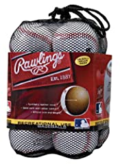 Ideal for batting practice or playing casual games, this set of Rawlings Official League Recreational Use Baseballs contains a dozen baseballs in a convenient reusable mesh bag. Each practice baseball features a solid cork and rubber center a...