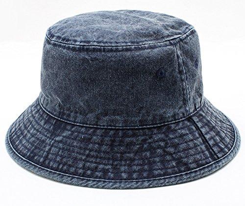 MINAKOLIFE Women 100% Cotton Denim Bucket Hat Summer Cap (Blue) ()