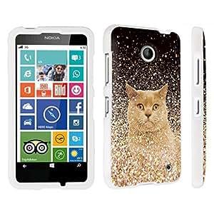 DuroCase ? Nokia Lumia 635 Hard Case White - (Gold Glitter Cat)