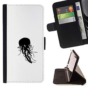 Momo Phone Case / Flip Funda de Cuero Case Cover - Jelly Fish B & W;;;;;;;; - HTC One M9