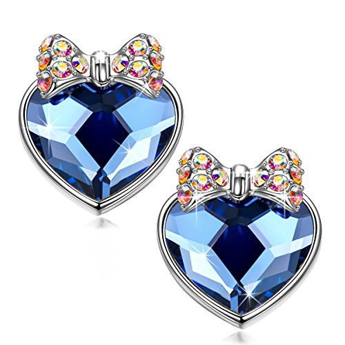 Gift Heart Valentine - NINA&NANA Mothers Day Gifts Heart Earrings Swarovski Crystal Anti-allergic Material for Mother Girls Ladies Girlfriend Sister Wife for Valentines Day Christmas Anniversary