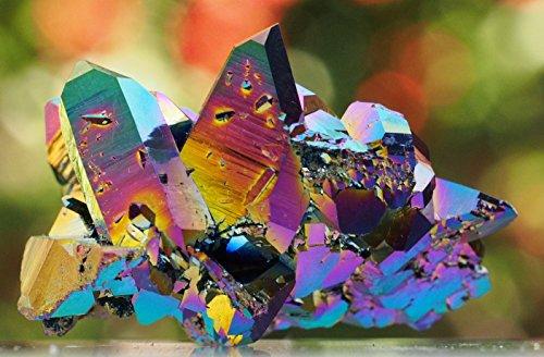 Quartz Cluster Arkansas Mineral Specimen Titanium Coated USA 2 Inch