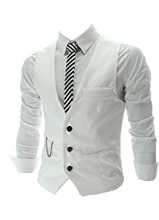 Boom Fashion Hombre Elegante Chaleco de Vestir Casual Negocio Slim ... b349ec2b5efc