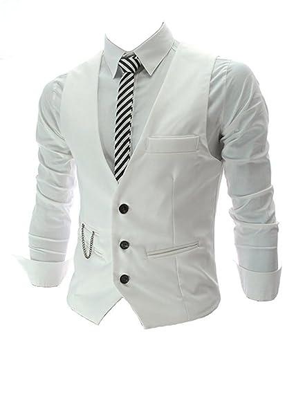 Chaleco ajustado para hombre Oymmeney, diseño moderno e informal Blanco blanco X-Small