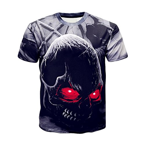 Realdo Skull T Shirts for Men, Mens Casual Crewneck 3D Print
