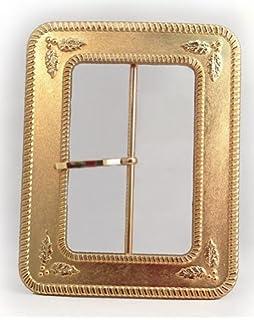 santas holly leaf 4 inch gold belt buckle - Santa Claus Belt