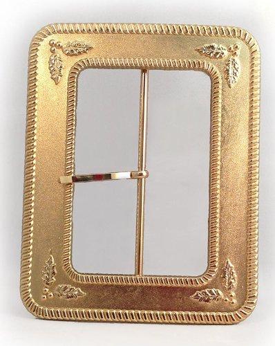 Santa's Holly Leaf 4-Inch Gold Belt Buckle