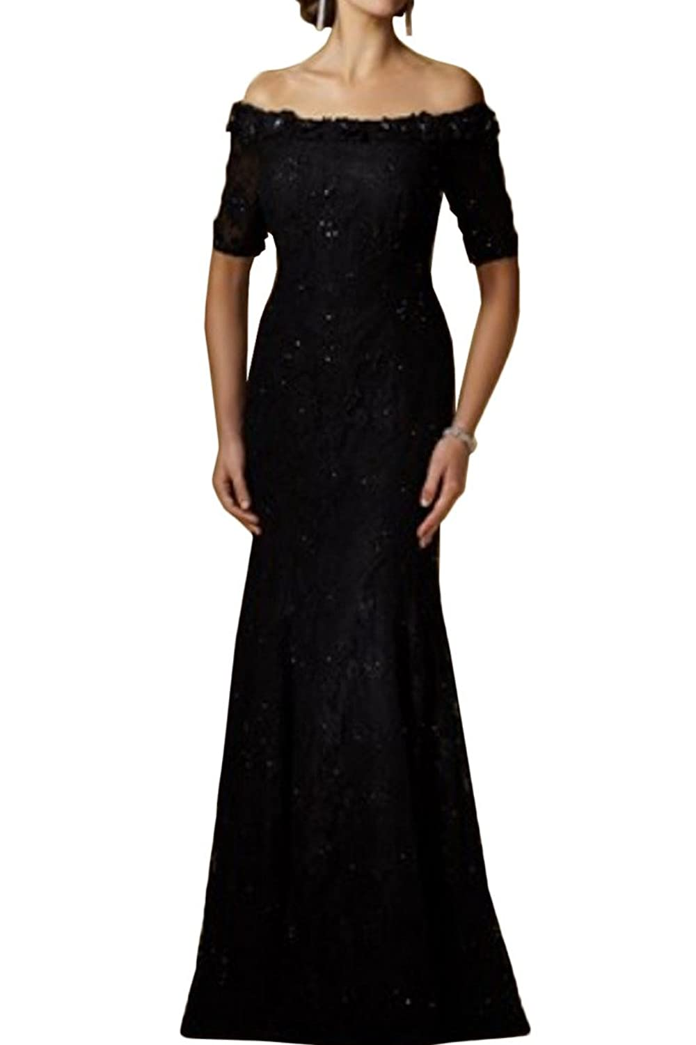 Charm Bridal Sexy Off Shoulder Black Lace Mother of the Bride Dress with Sleeves