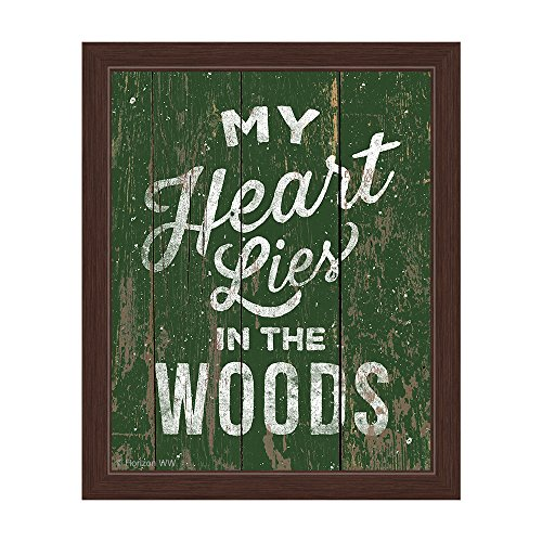 Distressed Wood Textured Forest Green My Heart Lies In The Woods Framed Canvas Art Wall