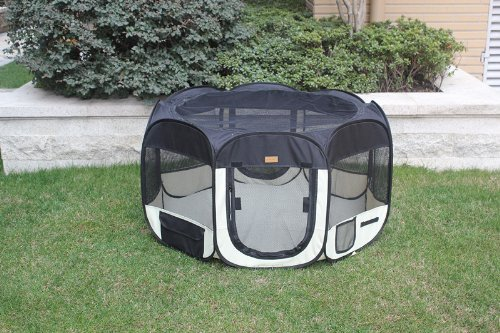 New Black As Seen On TV Pet Dog Cat Tent Playpen Exercise Play Pen Soft Crate M by BestPet