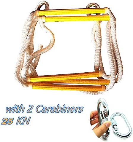 MU-MOON Climb Rope Ladder 6 Rungs Climbing Toy 7.5ft with 2 Carabiners 25KN for Kids Adult Nylon and Resin Rung