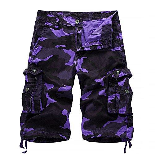 Hycsen Mens Cotton Relaxed Fit Outdoor Camouflage Camo Cargo Shorts-Bapai-Purple Camo-30
