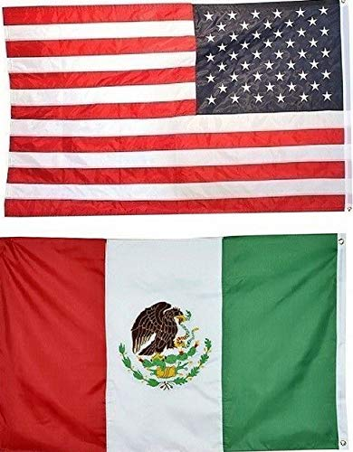 Kaputar 3x5 USA American Flag Mexico Friendship Embroidered 210D Premium Set | Model FLG - 7502