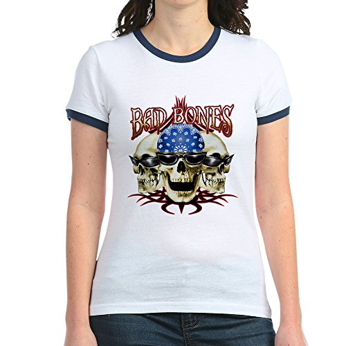 Royal Lion Jr. Ringer T-Shirt Bad Bones Skulls Sunglasses - Navy/White, Large