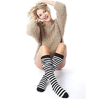 Aneco 4 Pairs Over Knee Thigh Socks Women High Thigh Stockings Boot Sock for Cosplay and Daily Wear at Women's Clothing store