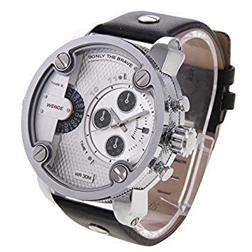 Moda Relojes Weide WH3301 calendario pantalla decoración de 3 diales de reloj de pulsera 30 m