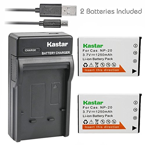 Kastar Battery (X2) + Slim USB Charger for Casio NP20 NP-20 & Exilim EX-M1 EX-M2 EX-M20 EX-S20 EX-S100 EX-S500 EX-S600 EX-S880 EX-Z3 EX-Z4 EX-Z5 EX-Z6 EX-Z7 EX-Z8 EX-Z11 EX-Z60 EX-Z70 EX-Z75 (Np 20 Digital Camera Battery)