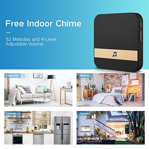 GJT 2018 Splash-Proof Smart Video Doorbell Home Security Camera with Indoor Chime, 8G SD Card, Free Cloud Service, 1 Battery, 2-Way Talk, Night Vision, PIR Motion Detection for iOS Android by GJT (Image #5)