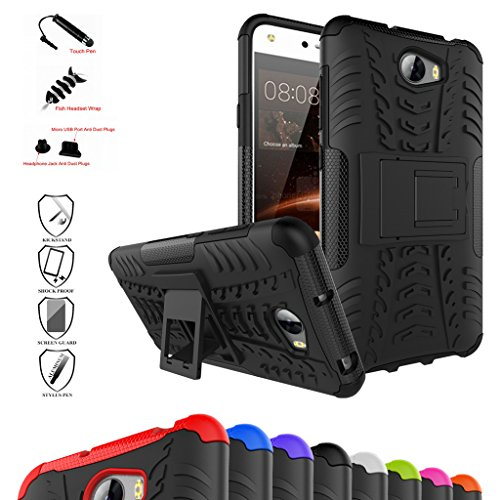 Price comparison product image Huawei Y5 II / Y6 II Compact Case,Mama Mouth Shockproof Heavy Duty Combo Hybrid Rugged Dual Layer Grip Cover with Kickstand For Huawei Y5II / Huawei Y5 2 / Huawei Y6II Compact Smartphone,Black