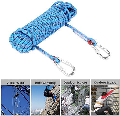 Paracord 10M 20M con Mosquetón - Cuerda para Escalada de 12mm de Diámetro Cuerda de Paracaídas de Fibra Escape de Supervivencia Paracord