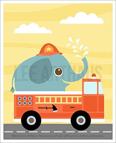 Fire Engine Trunk (98A - Elephant in Fire Truck UNFRAMED Wall Art Print by Lee ArtHaus)