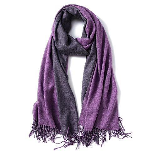 MaaMgic Womens Soft Cashmere Feel Pashmina Shawls Wraps Big Blanket Fall Winter Scarf for Girls, Dark Purple and Purple