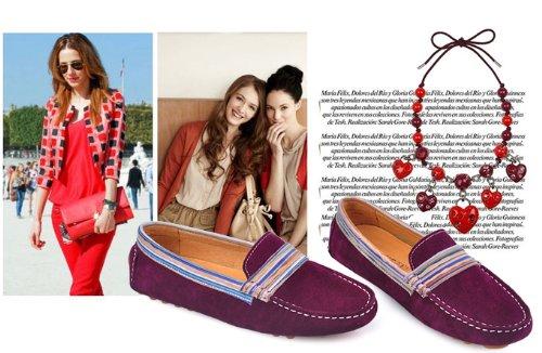 Happyshop (tm) 2014 Liefhebbers Schoenen Suede Lederen Mocassin Loafers Rijden Schoenen Slip-on Voor Paren Paarsachtig Rood (vrouwen)
