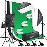 Photo Master Photography Lighting Kits for Video Studio Includes Includes Background, Boom, Stands, Softboxes, Socket Heads, 12 x 45W Bulbs,Carrying bag