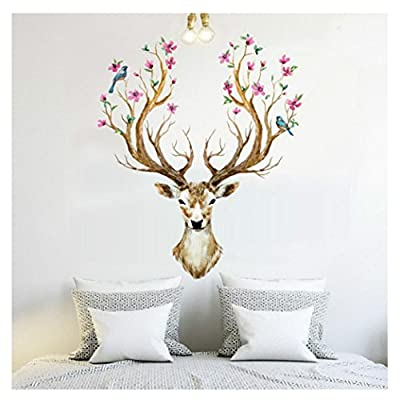 Gillberry 3D Plum flower deer Wall Stickers For kids rooms living room bedroom Home Decor DIY Decoration PVC Removable Waterproof
