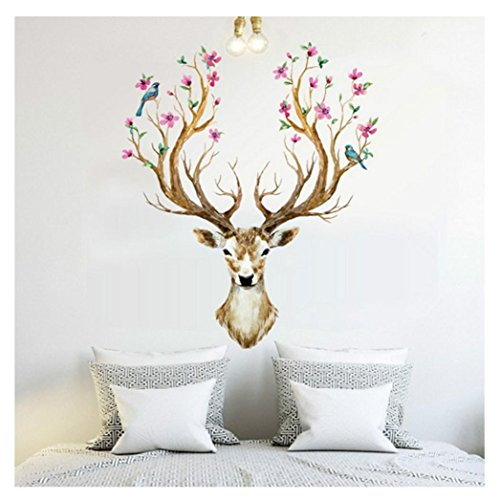 Gillberry 3D Plum Flower Deer Wall Stickers Kids Rooms Living Room Bedroom Home Decor DIY Decoration PVC Removable Waterproof