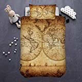 ARIGHTEX Vintage Map Bedding Antique Map of The World Youth Kids Travelers 2 Piece Historical Old World Map Duvet Cover Set (Single)