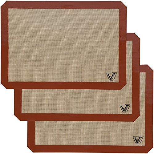 Silicone Baking Mat - Set of 3 Half Sheet (Thick & Large 11 5/8
