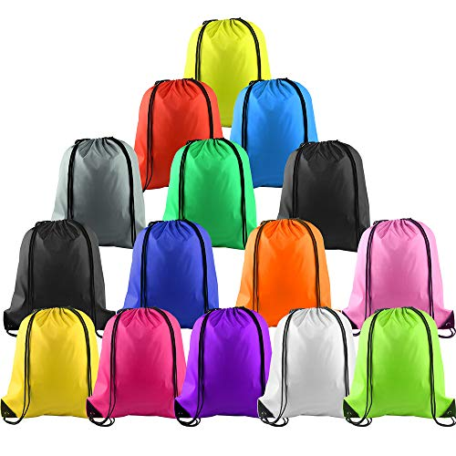 KUUQA 15Pcs Multicolor Drawstring Backpack Bags Sports Cinch Sack String Backpack Storage Bags for Gym Traveling (Colorful 15pcs) ()